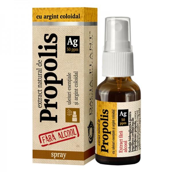 Extract natural de propolis cu argint coloidal, 20 ml, Dacia Plant